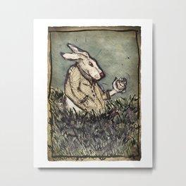 I'm Late I'm Late! White Rabbit Metal Print