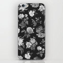 Vintage flowers on black iPhone Skin