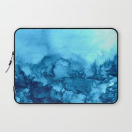 INTO ETERNITY, TURQUOISE Colorful Aqua Blue Watercolor Painting Abstract Art Floral Landscape Nature Laptop Sleeve