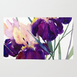 Deep Purple Flowers, Irises Rug