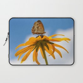 Butterfly on a yellow flower Laptop Sleeve