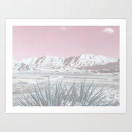 Mojave Snow // Red Rock Canyon Las Vegas Desert Landscape Light Pink Sky Vintage Photography Art Print