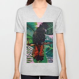 Tropical Red-Tailed Black Cockatoo Parrot Unisex V-Neck