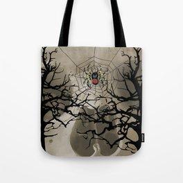 halloween Spider in web between trees Tote Bag