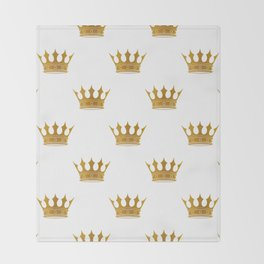 Wedding White Gold Crowns Throw Blanket