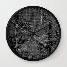 Dallas Black Map Wall Clock
