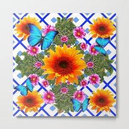 Western Sunflowers Blue Butterflies Floral  Art Metal Print