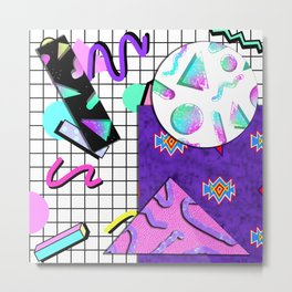 Trapper Keeper 80s Crazy Grid Design Metal Print