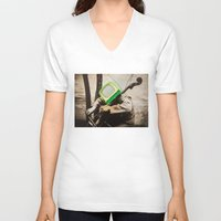 bass V-neck T-shirts featuring Bass TV by Marko Köppe