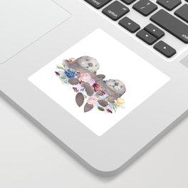Sea Otters Holding Hands, Love Art Sticker