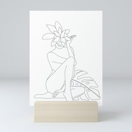 Minimal Line Art Woman with Tropical Leaves Mini Art Print