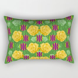 roses dancing on a tulip field of festive colors Rectangular Pillow