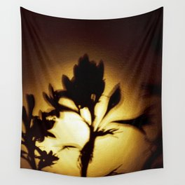 Yellow and Black Floral Shadow Art Print Wall Tapestry