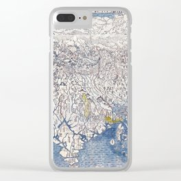Japanese Buddhist Map of the World, 1710 - Color Woodblock Clear iPhone Case