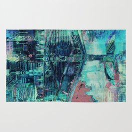 Totem Cabin Abstract - Teal Rug