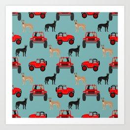 Great Dane jeep car dog breed pattern custom pet portrait Art Print