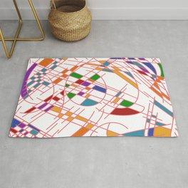 Modern Art Block Color Seeking Cubism Rug