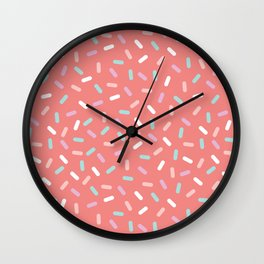 Coral Sprinkle Confetti Pattern Wall Clock