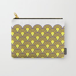 retro sixties inspired fan pattern in yellow and violet Carry-All Pouch