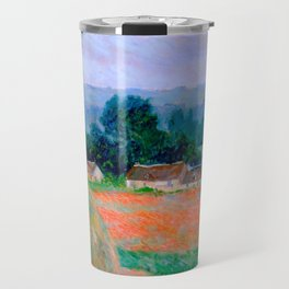 Claude Monet Impressionist Landscape Oil Painting Haystack at Giverny Travel Mug