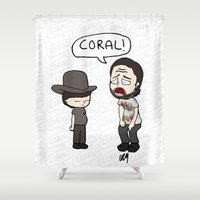 coral Shower Curtains featuring Coral by kaylieghkartoons