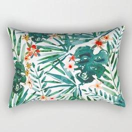 TROP DON'T STOP Tropical Palms and Monstera Rectangular Pillow