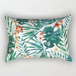 TROP DON'T STOP Tropical Palms and Monstera Rectangular Pillow