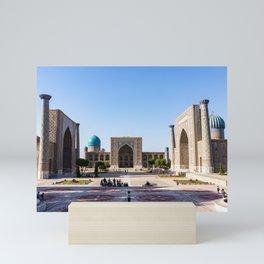 Sunset on Registan square - Samarkand, Uzbekistan Mini Art Print
