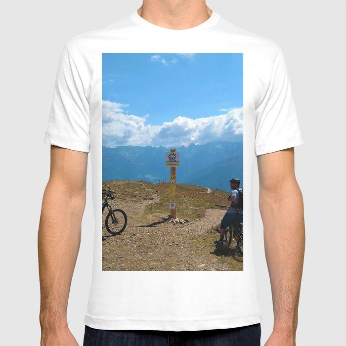 mountain bike frommes trail alps serfaus fiss ladis tyrol austria europe  T-shirt by gxp-design