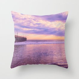 Solace by Sunset Cayucos pier and beach Throw Pillow