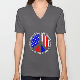 All People Imagine Living Life In Peace Gift Unisex V-Neck
