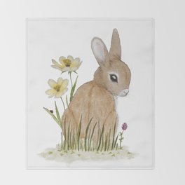 Rabbit Among the Flowers Throw Blanket