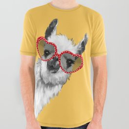Fashion Hipster Llama with Glasses All Over Graphic Tee