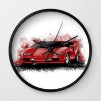 lamborghini Wall Clocks featuring 1985 Lamborghini Countach by an.artwrok