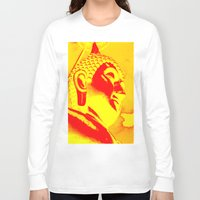 buddah Long Sleeve T-shirts featuring Buddah Head 04; Orange Blush by Kether Carolus