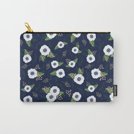 Anemone Floral Pattern Navy Blue Carry-All Pouch