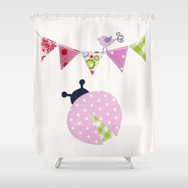 Ladybug with party flags Shower Curtain