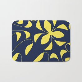 Leafy Vines Yellow and Navy Blue Bath Mat