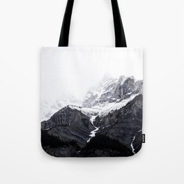 Moody snow capped Mountain Peaks - Nature Photography Tote Bag