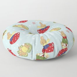 Tea Time in the Snow Floor Pillow