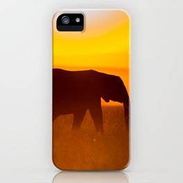 Elephants in the sunset iPhone Case