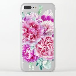 Beautiful soft pink peonies Clear iPhone Case