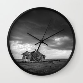 Sweeping Down the Plains - Abandoned House and Storm in Oklahoma Wall Clock