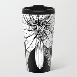 Orchid Cactus in Black and White Travel Mug