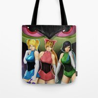 powerpuff girls Tote Bags featuring PowerPuff Girls by Esteban Barrientos