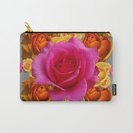 OLD GOLD-YELLOW & PINK ROSES ON GREY Carry-All Pouch