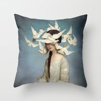 gothic Throw Pillows featuring The Beginning by Christian Schloe