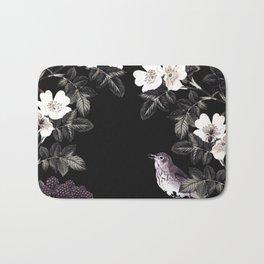 Blackberry Spring Garden Night - Birds and Bees on Black Bath Mat