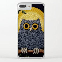 Little Owl in the Moonlight Clear iPhone Case