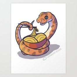 Snake with noodles Art Print